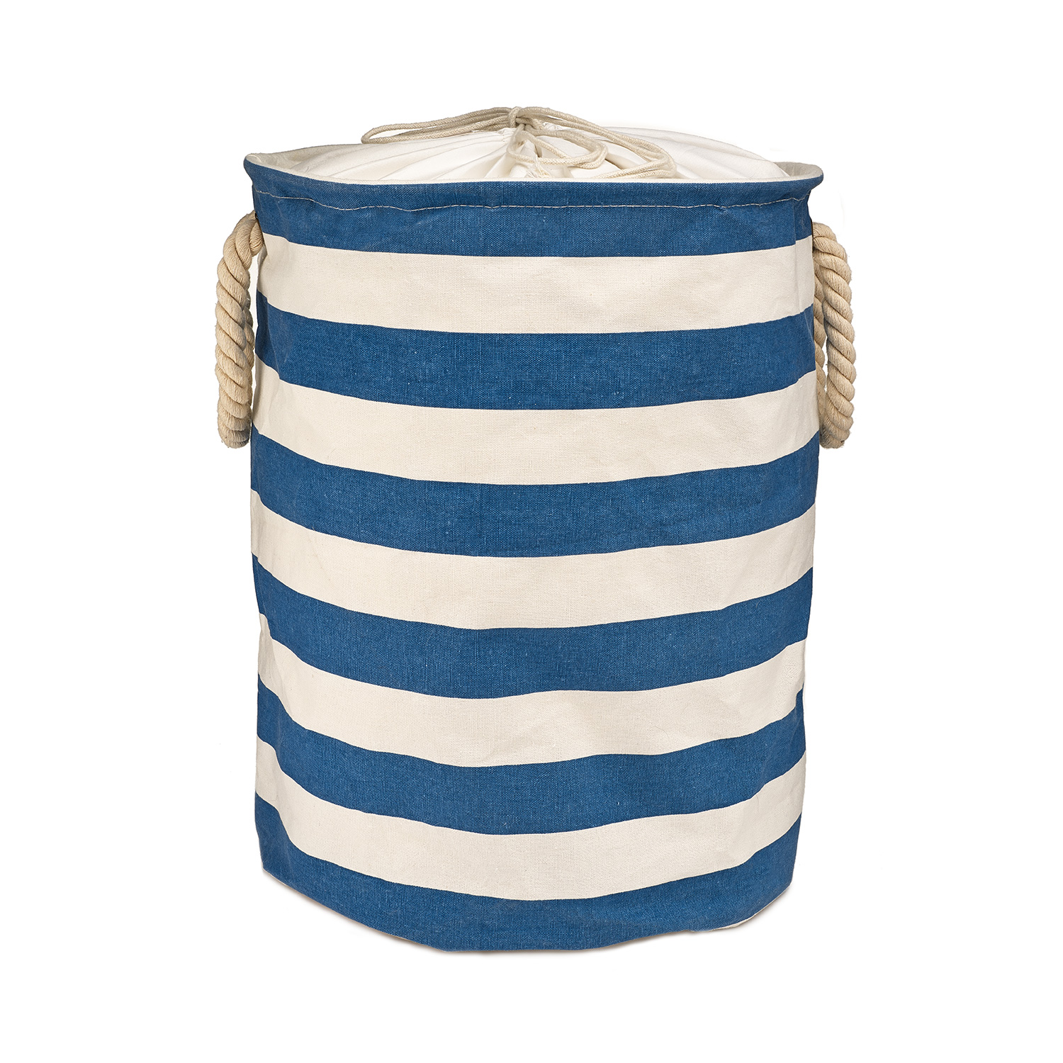 Blue Striped Cotton Fabric Collapsible Kids Laundry Hamper